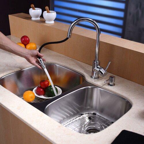 Kraus 8 Piece Double Bowl Kitchen Sink Set