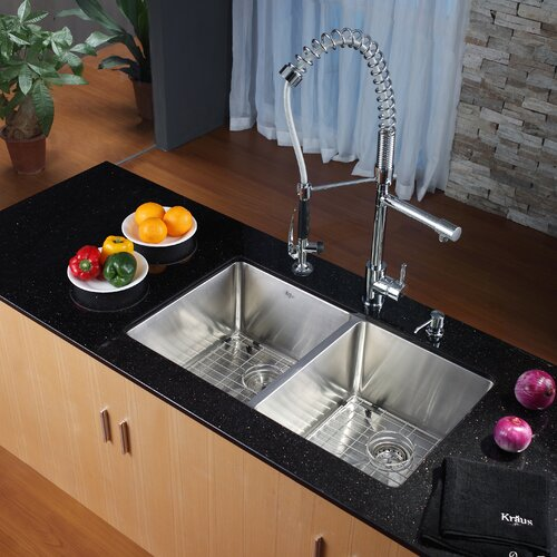 "Kraus 32.75"" x 19"" Undermount Kitchen Sink with Faucet and Soap Dispenser"