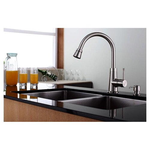 Kraus One Handle Single Hole High Neck Kitchen Faucet with Water and Temperature Control