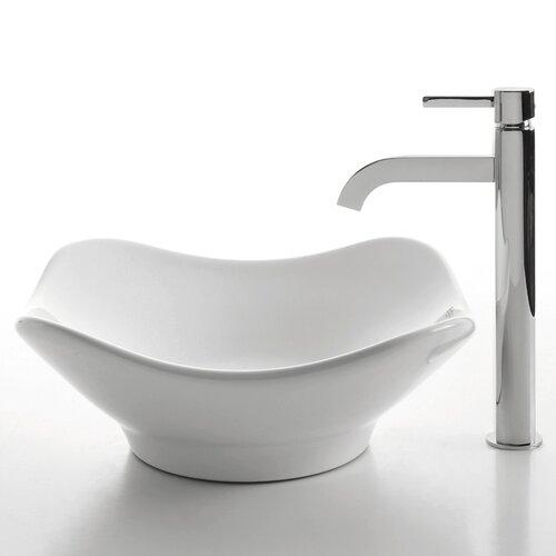 Ceramic Tulip Bathroom Sink with Ramus Single Lever Faucet