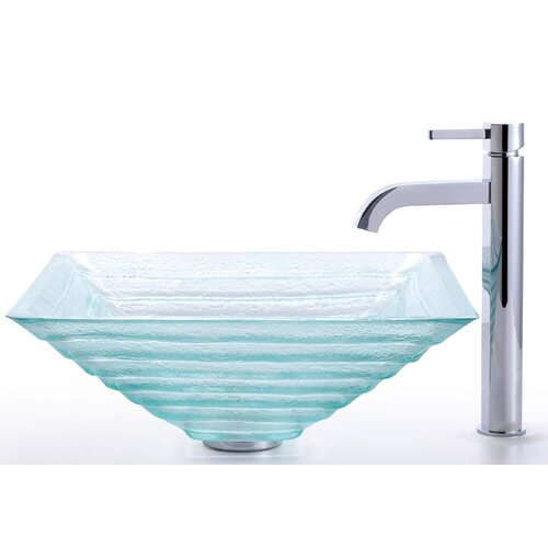 Kraus Square Alexandrite Glass Sink and Ramus Faucet