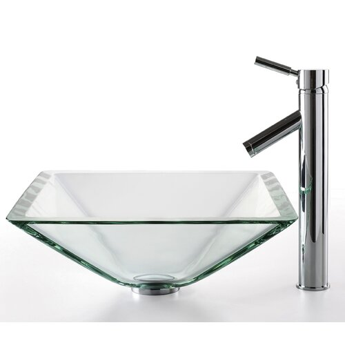 Kraus Square Aquamarine Glass Sink and Sheven Faucet