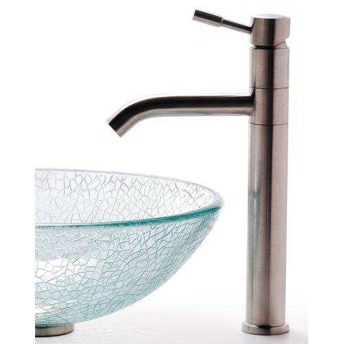 Kraus Broken Glass Vessel Sink and Aldo Faucet