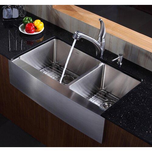 Kitchen Sink Double Bowl : Kraus Farmhouse 36