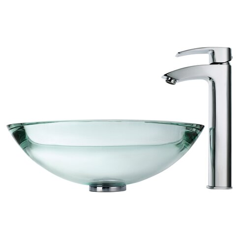 Clear Glass Vessel Sinks : Clear Glass 34 mm Edge Vessel Sink and Visio Bathroom Faucet in Chrome ...