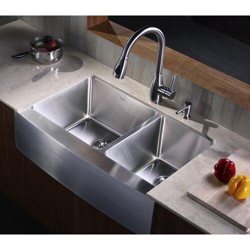 "27 Inch Farmhouse Sink: Kraus Farmhouse 33"" 70/30 Double Bowl Kitchen Sink"