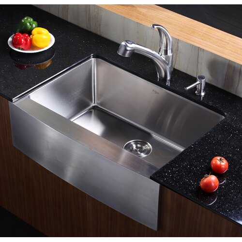 Kraus Single Handle Single Hole Kitchen Faucet with Pull-out Spray Head