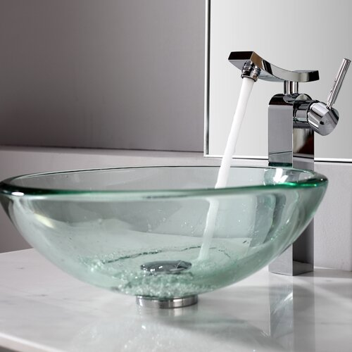 Clear Sink and Single Hole Faucet with Single Handle