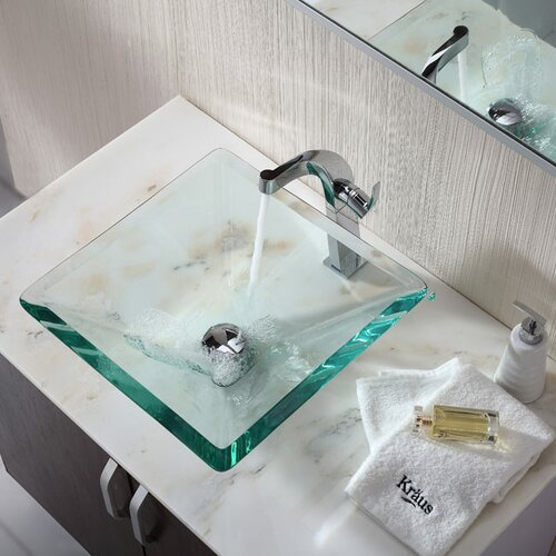 Kraus Bathroom Combos Aquamarine Glass Vessel Bathroom Sink with Single Handle Single Hole Faucet