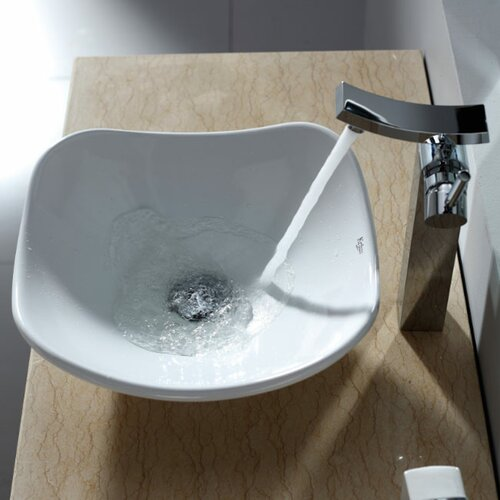 Kraus Bathroom Combos Tulip Ceramic Bathroom Sink with Single Handle Single Hole Faucet