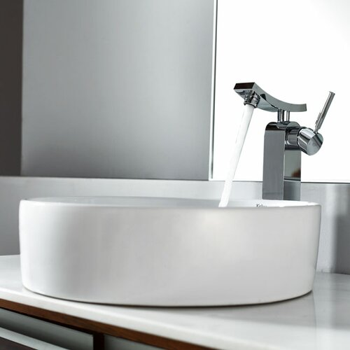 Bathroom Combos Round Ceramic Bathroom Sink with Single Handle Single Hole Faucet