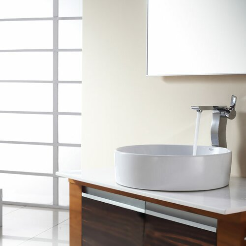 Kraus Bathroom Combos Round Ceramic Bathroom Sink with Single Handle Single Hole Faucet