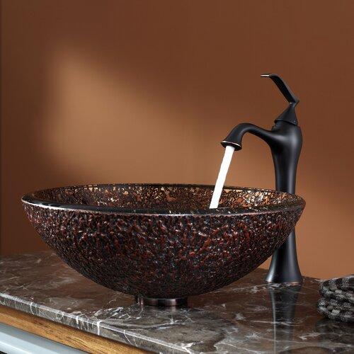 Venus Glass Vessel Sink and Ventus Faucet Wayfair