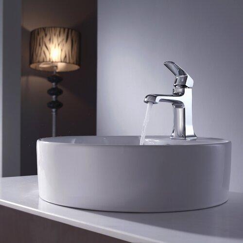 Decorum Round Ceramic Bathroom Sink and Basin Faucet