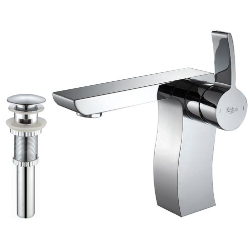 Kraus Bathroom Combos Single Hole Sonus Faucet with Single Handle and Pop-Up Drain