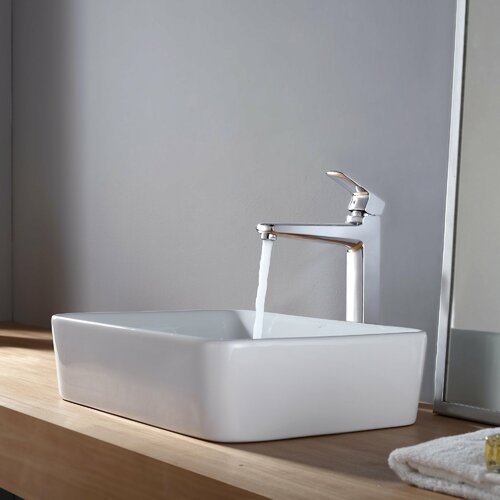 Kraus Rectangular Sink and Virtus Faucet