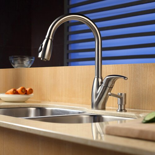 "Kraus 32"" x 20.75"" Undermount Double Bowl Kitchen Sink with Faucet and Soap Dispenser"