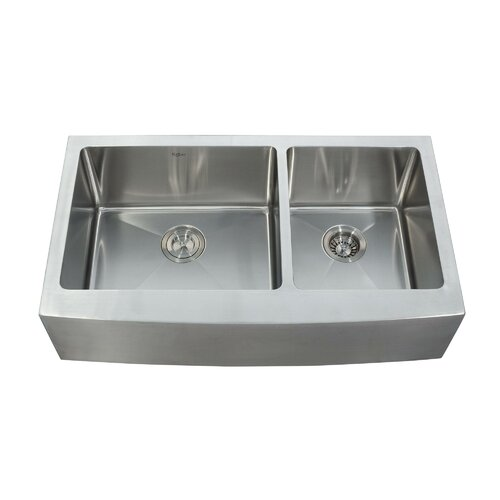 "Kraus 35.9"" x 20.75"" x 10"" 8 Piece Farmhouse Double Bowl Kitchen Sink Set"