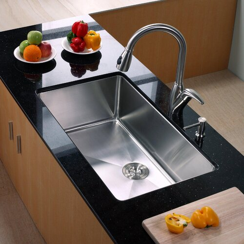 """Kraus 32"""" x 19"""" Undermount Kitchen Sink with Faucet and Soap Dispenser"""