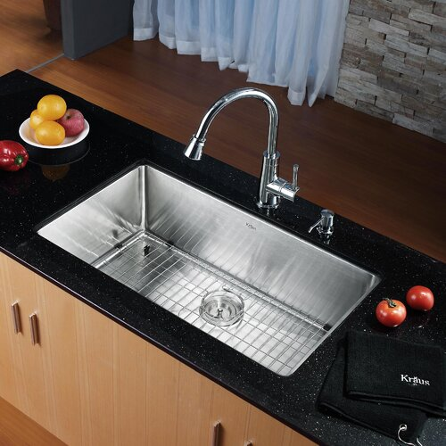 "Kraus 32"" x 19"" Undermount Single Bowl Kitchen Sink with Faucet and Soap Dispenser"