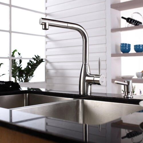 "Kraus 32.75"" x 19"" Undermount 50/50 Double Bowl Kitchen Sink with Faucet and Soap Dispenser"