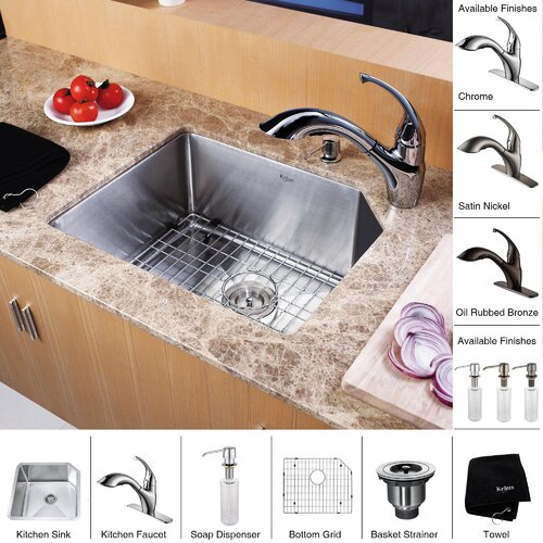 "Kraus 21"" x 16.75"" Undermount 70/30 Kitchen Sink with Faucet and Soap Dispenser"