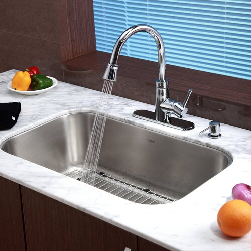 Kraus One Handle Single Hole Kitchen Faucet with Soap Dispenser and Pull Out Spray