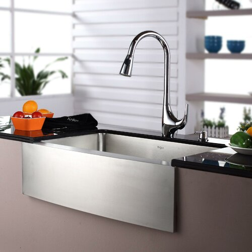 "Kraus 27"" x 16"" Farmhouse Single Bowl Kitchen Sink with Faucet and"