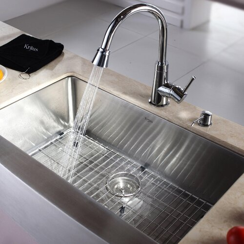 "Kraus 32.88"" x 20.75"" Farmhouse Kitchen Sink with Faucet and Soap Dispenser"