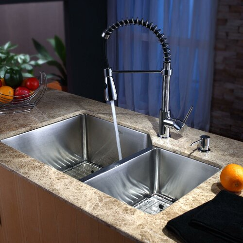 "Kraus 32"" x 20"" Undermount Kitchen Sink with Faucet and Soap Dispenser"