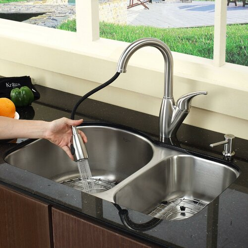 """Kraus 30"""" x 19.5"""" 8 Piece Undermount Double Bowl Kitchen Sink Set"""