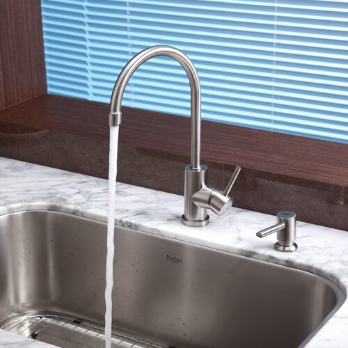 "Kraus 31.5"" x 18.38"" 6 Piece Undermount Single Bowl Kitchen Sink Set"