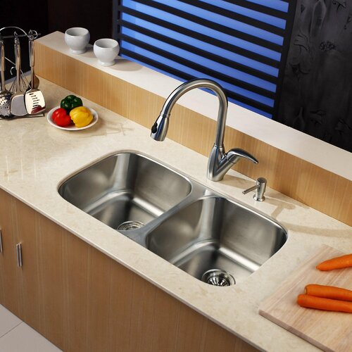 "Kraus 32.25"" x 18.5"" Undermount Double Bowl Kitchen Sink with Pull-Out Faucet and Soap Dispenser"