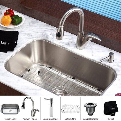 """Kraus 31.5"""" x 18.38"""" 6 Piece Undermount Single Bowl Kitchen Sink Set"""