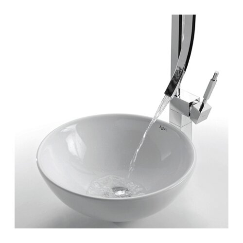 Kraus Ceramic Round Vessel Bathroom Sink