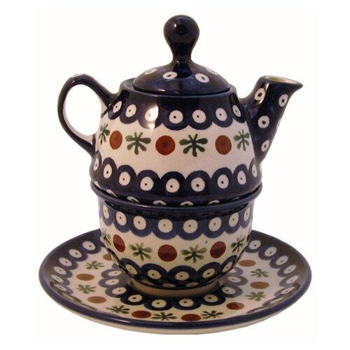 Euroquest Imports Polish Pottery Pattern 41A 0.31 qt. Tea for One Teapot & Saucer