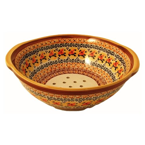 "Euroquest Imports Polish Pottery 10"" Berry Bowl / Strainer - Pattern DU70"