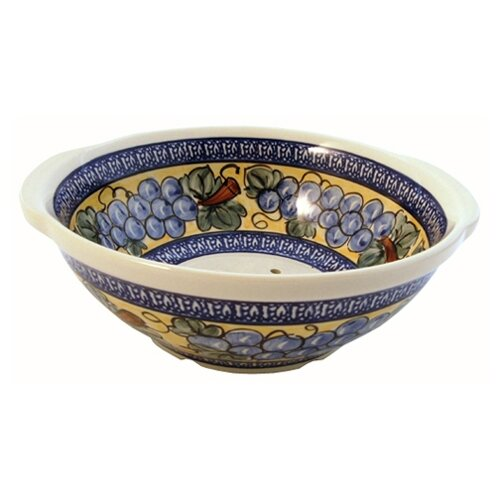 "Euroquest Imports Polish Pottery 10"" Berry Bowl / Strainer - Pattern DU8"