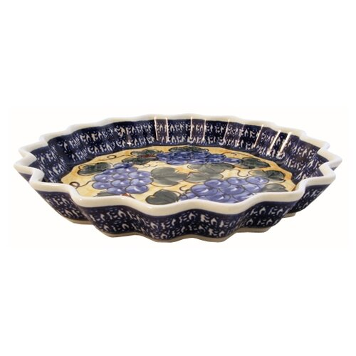 "Euroquest Imports Polish Pottery 10.25"" Fluted Pie Plate - Pattern DU8"