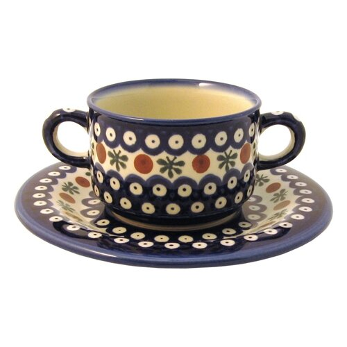 Euroquest Imports Polish Pottery Pattern 41A 8.75 oz. Consommé Bowl