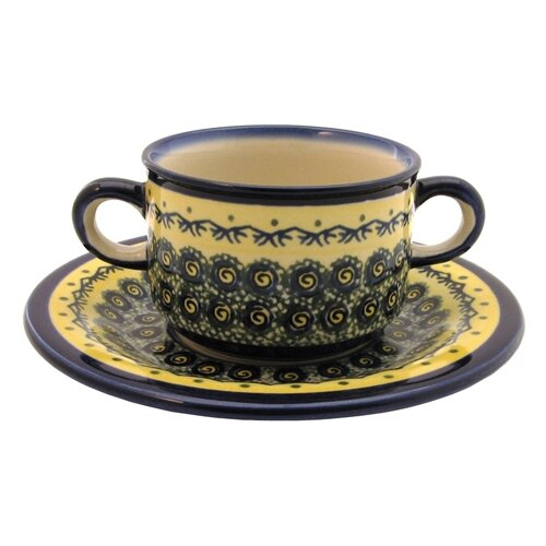 Euroquest Imports Polish Pottery Pattern DU1 8.75 oz. Consommé Bowl