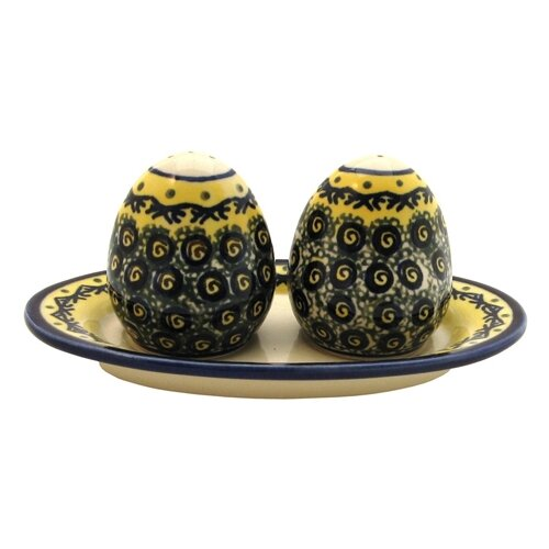 Euroquest Imports Polish Pottery Salt and Pepper Shaker Set- Pattern DU1