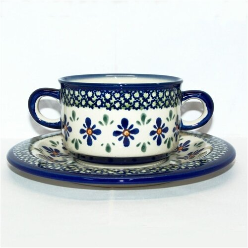 Euroquest Imports Polish Pottery Pattern DU60 8.75 oz. Consommé Bowl