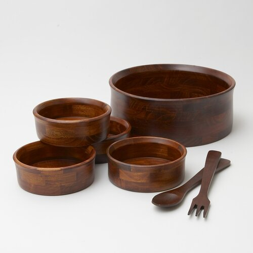 Woodard & Charles Rubberwood 7 Piece Salad Serving Set