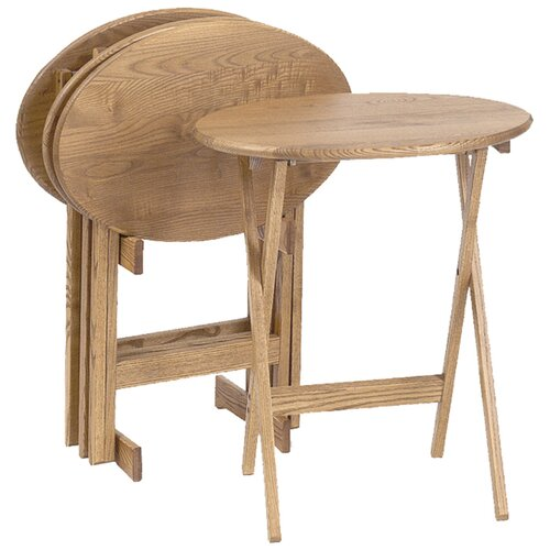 Manchester Wood Oval Tray Table (Set of 4)