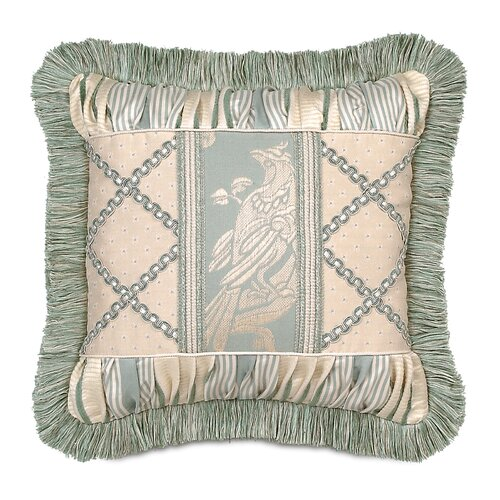 Carlyle Polyester Collage Decorative Pillow with Brush Fringe