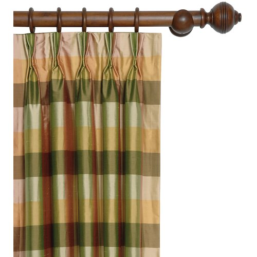 Eastern Accents Beckford Silk Plaid Three-Finger Cotton Pleated Curtain Single Panel