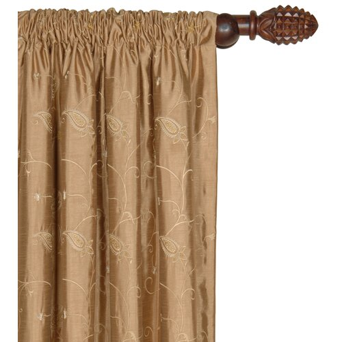Eastern Accents Cecilia Embroidered Paisley Cotton Pleated Curtain Single Panel