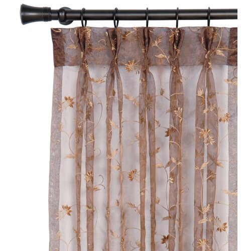 Eastern Accents Alexia Embroidered Hazel Three-Finger Pleated Curtain Single Panel