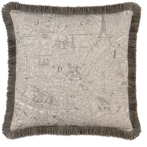 Eastern Accents Daphne Polyester Trompe Decorative Pillow with Brush Fringe